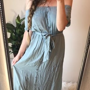 ASOS Off The Shoulder Button Down Maxi Dress